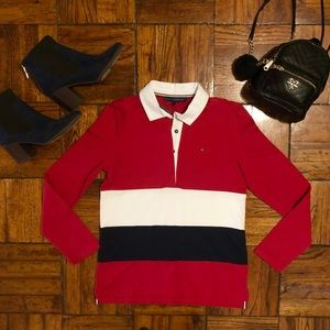 Tommy Hilfiger Striped Rugby Polo Red Blue Top